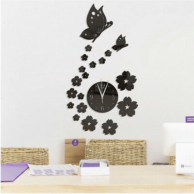 DIY Modern Black 3D Mirror Clock Wall Stickers Decal Home Art Decor Removable
