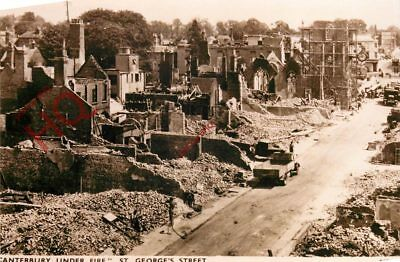 Picture Postcard:;Canterbury Under Fire, St. Georges Street (Repro) [Saunders]