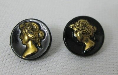 2 Antique Vintage c.1800's Victorian Black Glass Lady's Head Gold Luster Buttons