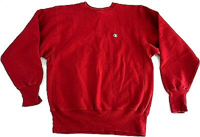VINTAGE 80s CHAMPION REVERSE WEAVE sweatshirt adult L MADE IN USA c logo red