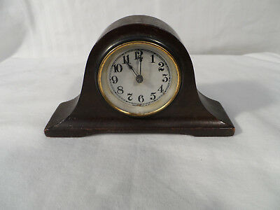 "Vintage Wooden Brass Mini Mantle Clock 5-3/4"" x 3--1/4"" Made in USA"