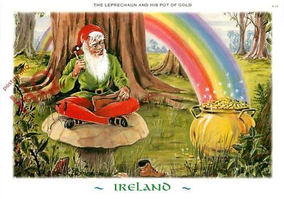 Picture Postcard--Ireland, The Leprechaun And His Pot Of Gold