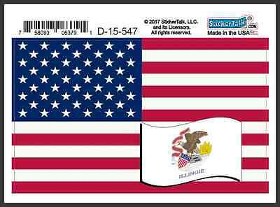 5×3 America and Illinois Flag Magnet Vinyl Magnetic State US Flag Vehicle Decal