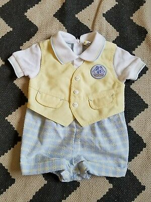 VINTAGE Baby jumper True VTG sz 3-6 Toddler gingham nautical /DC
