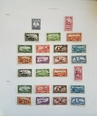 Syria, Syrie,1925-45, Many complete sets and rare stamps on 7 Minkus pages.