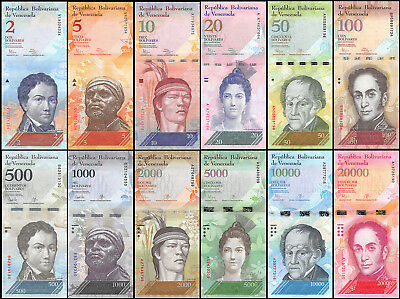 Venezuela 2-20,000 (20000) Bolivares 12 PCS Full Set, 2014-2017,P-88-NEW,UNC
