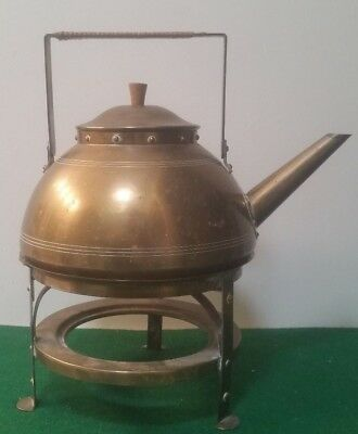 Antique Arts & Crafts Bronze Teapot & Stand