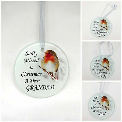 Robin Glass Christmas Tree Hanging Plaque/Decoration Memorial Xmas Tribute