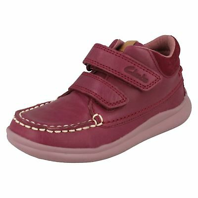 Girls Clarks Cloud Mist Fst Plum Leather Casual Moccasin Ankle Boots