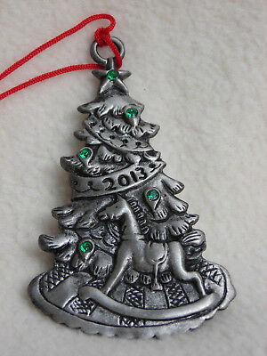 Avon Fine Collectibles 2013 Pewter Christmas Tree Ornament w/Green Cystals