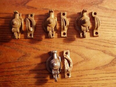 4--Antique Vintage Ornate Cast Iron Victorian Sash Lock 1900's