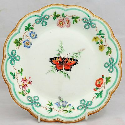 Antique Brownfield Porcelain Painted Tortoiseshell Butterfly Dessert Plate 1870