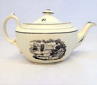 Antique Pearlware New Oval Shape Black Bat Printed Teapot Poss. new Hall ca 1810