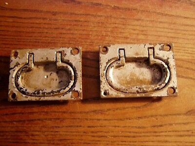 Antique Pair of   Cast Iron Chest Tool Box Hatch Drop Handle OLD