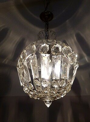 Beautiful All Glass Vintage French Crystal Bag Chandelier, Lovely Quality C1950s
