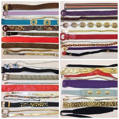 Lot Of 50 Vintage Assorted Retro Fashion Belts Wholesale Costume Theater Hipster