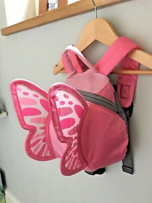 Littlelife Pink Butterfly Toddler Backpack Bag with Rein 1-3 years