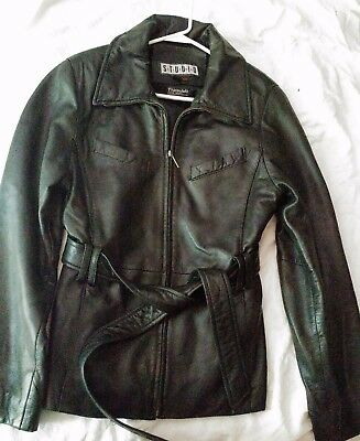Ladies Siena Studio SOFT black Leather Belted Jacket Thinsulate lining Size M/M