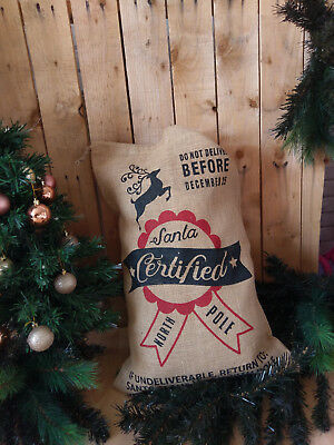 Christmas Stocking Burlap Reindeer Birch Santa Name Hessian Potato Sack Hessian