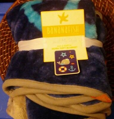 Bananafish Baby Anchors Aweigh Warm Soft Plush Decorative Blanket Coral New
