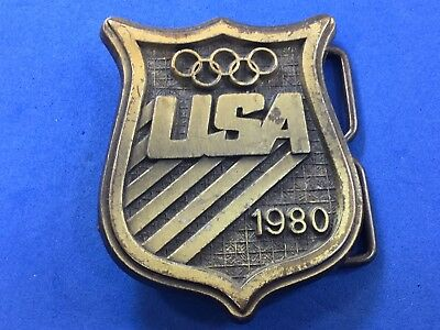 Vintage 1980 Team USA Olympics Belt Buckle STAMPED US Olympic Committee