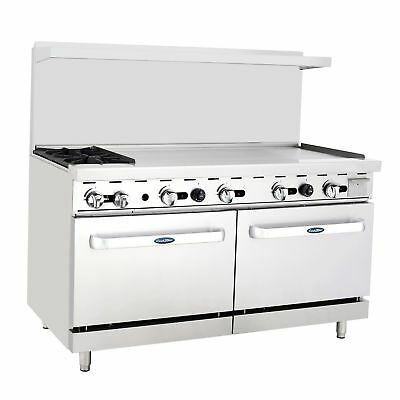 """New Heavy 60"""" Range 2 Burners 48"""" Griddle  2 Full Ovens Stove  Lp Prop Gas Only"""