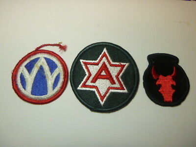 A   Lot of Three U S Army  Merrowed Edge  Patches # 4