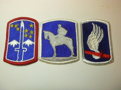 A   Lot of Three U S Army  Merrowed Edge  Patches # 7