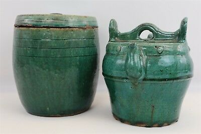 ANT Chinese Shiwan Green Glazed Earthenware Pottery Water Pot Pitcher & Jug Set