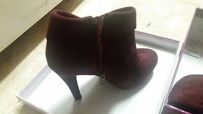 brand new burgundy suede boots with box and plastic wrap