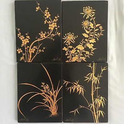 Thanh Lê  3/4! 4 Panneau laque Vietnam/Indochine lacquer tableau Thanhley china