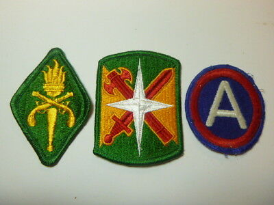 A   Lot of Three U S Army  Merrowed Edge  Patches # A-11