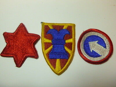 A   Lot of Three U S Army  Merrowed Edge  Patches # A-12
