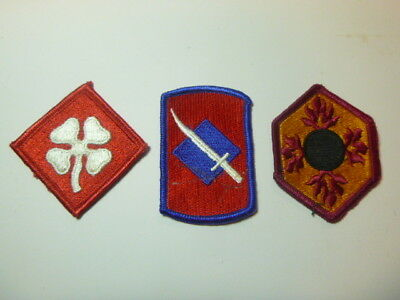 A   Lot of Three U S Army  Merrowed Edge  Patches # A-16