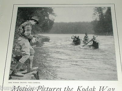 1924 Kodak Movie camera advertisement, Eastman Kodak Cine-Kodak, canoeing