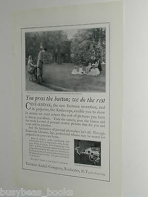 1924 Kodak Movie camera advertisement, Cine-Kodak, birthday party, maid, kids