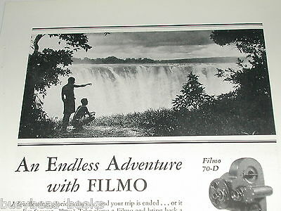 1929 Bell & Howell advertisement, Filmo Movie Camera Victoria Falls, Africa