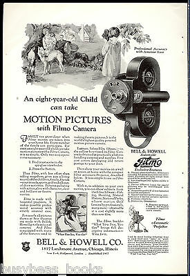 1927 Bell & Howell advertisement, FILMO Movie Camera, young girl films family
