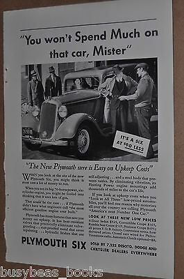 1933 Plymouth advertisement, Plymouth Six photo, wire wheels