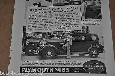 1934 PLYMOUTH advertisement, with Panama Canal builder Frank Violette