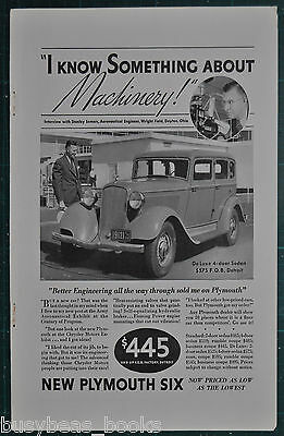 1933 Plymouth advertisement, PLYMOUTH SIX sedan photo, Machinery