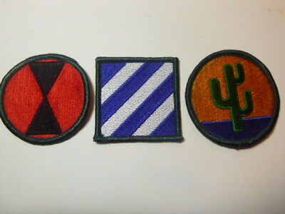 A   Lot of Three U S Army  Merrowed Edge  Patches # A-25
