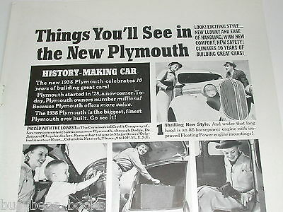 1938 Plymouth ad, 6 photos, Chrysler 4-door