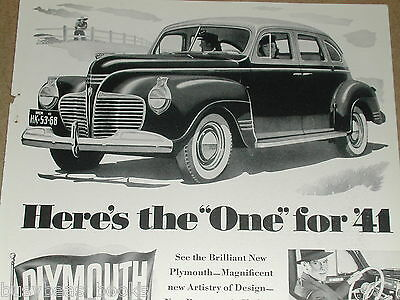 1941 Plymouth advertisement, two-tone sedan, with interior photos