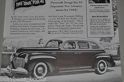 1941 Plymouth advertisement, two-tone sedan, pre-war Plymouth