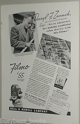 1937 Bell & Howell ad, Filmo Movie Camera Darryl Zanuck
