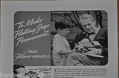 1941 Bell & Howell advertisement, FILMO 8 movie camera boy & gramps with tin car