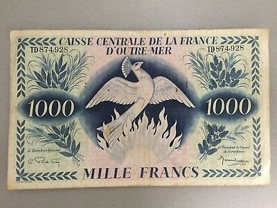 French Equatorial Africa 1000 Mille Francs Banknote - P14 RARE black script