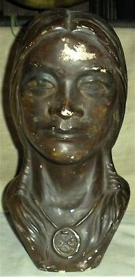 ANTIQUE c.1930S ARIZONA TRADEPOST BUST NAVAJO SQUAW HEAD vafo