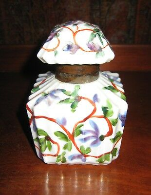 Antique Porcelain Inkwell Hand Painted Floral Design